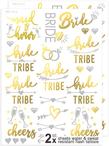 Bachelorette Party Flash Tattoos - 120+ Metallic Gold & Silver Sweat & Water Resistant Tats - Bachelorette Party Decorations for Bridesmaids, Maid of Honor & Bride Tribe by Merry Expressions