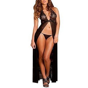 Amlaiworld Mujer Elegante Vestido Largo Pijama Slip Lencería Sexy Ropa Interior De Noche, mujer,