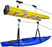 RaxGo Ceiling Garage Storage Hoist System | Pack of 2 Overhead Rack Lifts for Hanging Kayaks, Bicycles, Tools