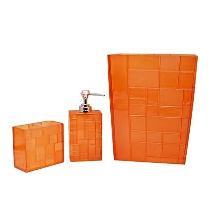 Sensational Luant Bathroom Accessories Set 3 Piece Bath Ensemble Bath Set Collection Features Soap Dispenser Pump Toothbrush Holder Dustbin Orange Home Interior And Landscaping Ponolsignezvosmurscom