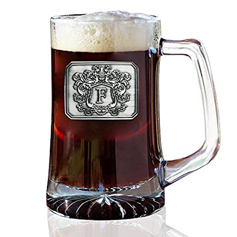 Fine Occasion Glass Beer Pub Mug Monogram Initial Pewter Engraved Crest with Letter B, 25 oz - Monogram Pint Glass