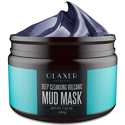 OLAXER Deep Cleansing Volcanic Mineral Mud Mask, Facial Treatment, Blackhead Removal, Acne Treatment, Pore Minimizer, Anti Aging Mask, 7.05 oz