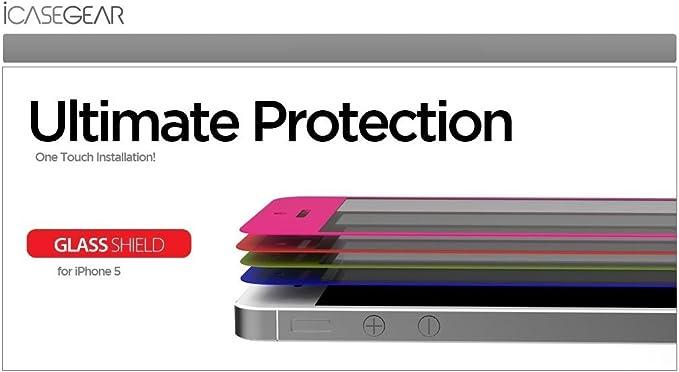 iCaseGear Premium Tempered Glass Screen Protector Neon Orange for Apple iPhone 5