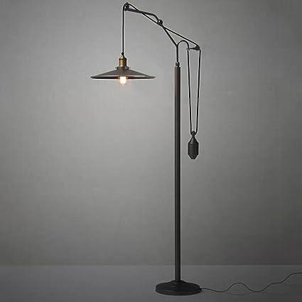 Neilyn Retro lámpara de pie de Metal Negro Vintage ...