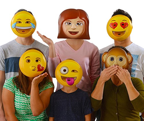 Emoji Universe : Emoji Vacuform Party Masks (Pack of 6) - Couple Costume Ideas Cheap