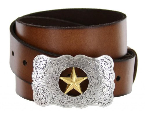 [Texas Ranger Star Western Full Grain Leather Casual Jean Belt] (Changeable Buckle)