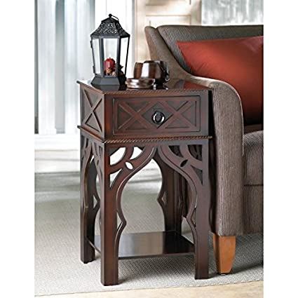 Amazon Com Tables Moroccan Style Side Table Drawer Wood