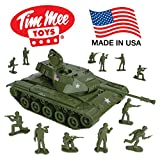tank toy - TimMee Toy Walker Bulldog TANK Playset- Olive Green 13pc - Made in USA
