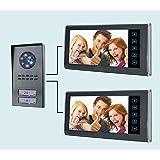 """Videocitofono 7"""" per Bifamiliare (2 monitor + 1 telecamera 2 tasti) colori visione notturna (154)"""