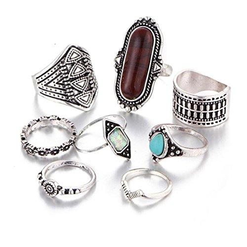 Napoo 8PCS Women Vintage Boho Crystal Flower Knuckle Ring Tibetan Turkish Style (Silver)
