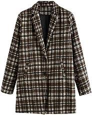 SheIn Women's Lapel Collar Coat Long Sleeve Plaid Blazer Outer