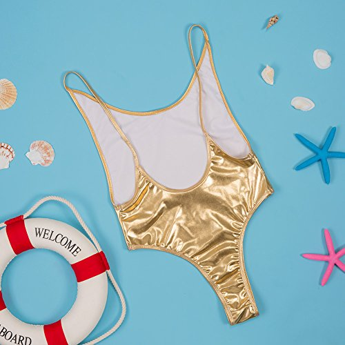 New Ladies oro Tanga bañadores de una pieza Monokini Beachwear Swimsuit tamaño M UK 10–�?2EU 38–�?0
