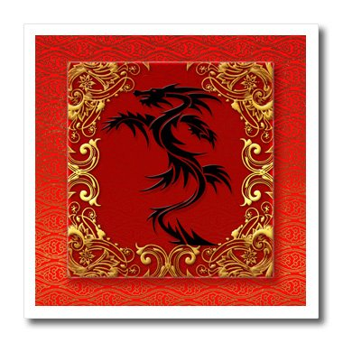 3dRose ht_101857_3 Chinese Zodiac Year of The Dragon Chinese New Year Red-Iron on Heat Transfer for White Material, 10 by 10-Inch