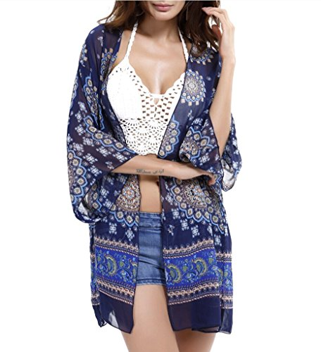 [Myosotis510 Women's Sleeve Floral Chiffon Kimono Cardigan Blouse] (College Girls In Costumes)