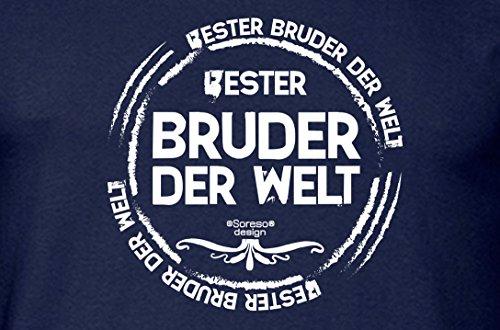 Bruder Geschenkeset Fun-T-shirt zu Weihnachten oder zum Geburtstag mit GRATIS Urkunde - Bester Bruder der Welt Farbe: navy-blau Gr: XL