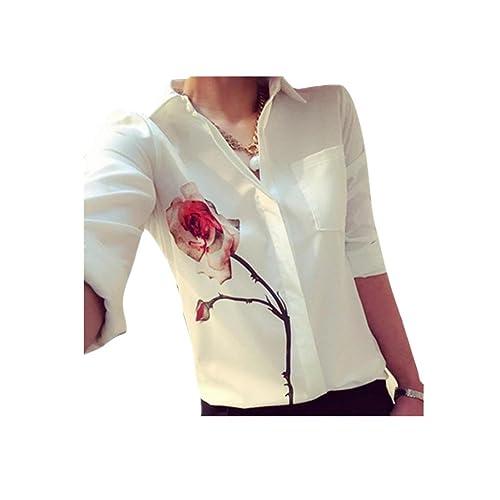 ZARU Las mujeres de la blusa de manga larga flor de Rose vuelta abajo a la gasa del collar camisas b...