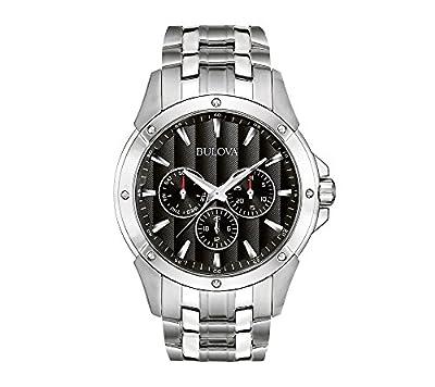 Bulova Men's Stainless Steel Bracelet Watch with Black Dial