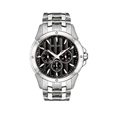 Bulova Men's Stainless Steel Bracelet Watch with Black Dial