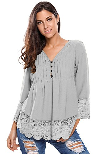 prime-leader-gray-lace-detail-button-up-sleeved-blousegrayxlfor-women