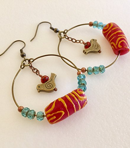 African Krobo Bead Hoop Earrings, Terra Cotta And Aqua, Handcrafted Glass Beads, Tribal Beads, Ethnic Beads, African Fair Trade.