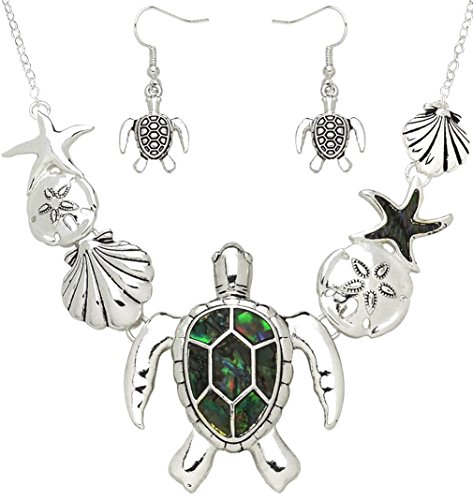 (DianaL Boutique Gorgeous Sea Turtle Sea Life Necklace and Earrings Set Abalone Shell Accent Sand Dollar Starfish Seashell )