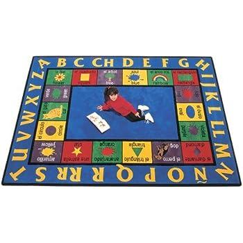 Carpets for Kids 1612 Bilingual Spanish Kids Rug Size x x, 84 x 118, Blue