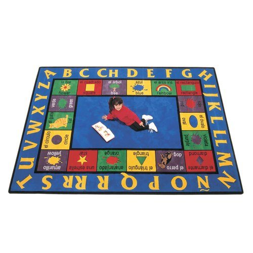 Spanish Carpet (Carpets for Kids 1612 Bilingual Spanish Kids Rug Size x x, 8'4 x 11'8, Blue)