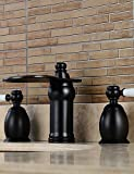 qiuxi Unique bathroom taps Widespread Two Handles Three Holes in Oil-rubbed Bronze Bathroom Sink Faucet
