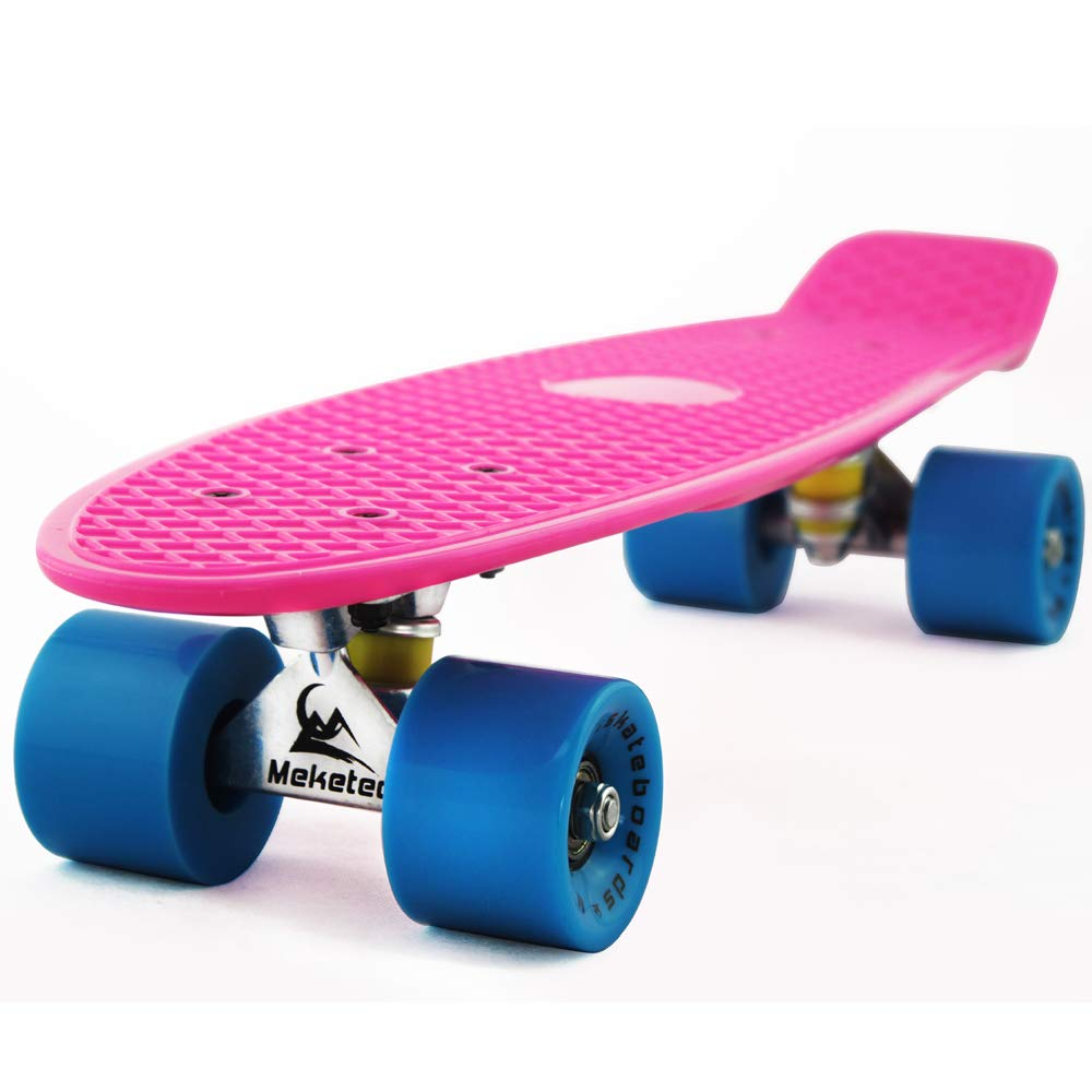 MEKETEC Skateboards Boys Retro Mini 22 inch Toddler Skateboard for Kids Boy Girls Youth Beginners Children Toddler Teenagers Adults Dog Age 4 5 6 Year (Pink Blue)