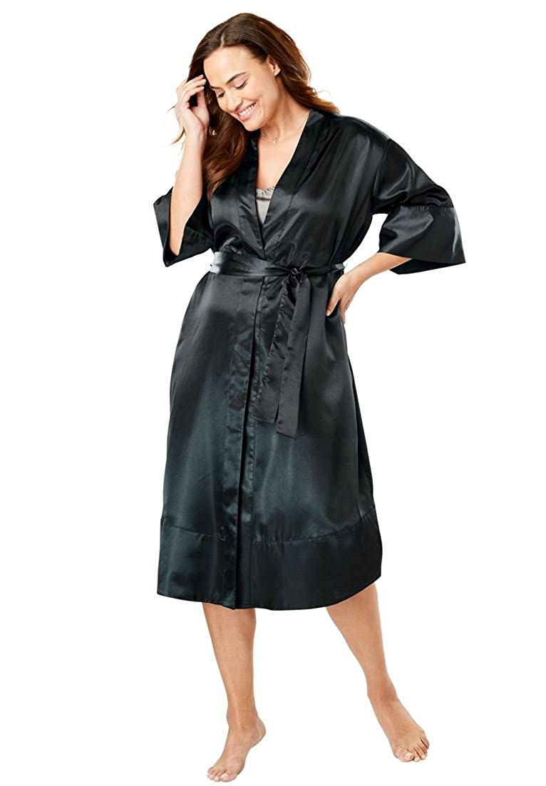ae31a19349d Amoureuse Women s Plus Size The Luxe Satin Belted Kimono at Amazon Women s  Clothing store