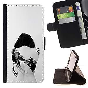 For Sony Xperia Z5 (5.2 Inch) / Xperia Z5 Dual (Not for Z5 Premium 5.5 Inch) Case , Tattoo Profundo triste Goth Emo Blanco Negro- la tarjeta de Crédito Slots PU Funda de cuero Monedero caso cubierta de piel