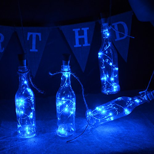 kingleder Wine Bottle USB Rechargeable LED Cork Light, USB Powered LED Accent Light Bedroom Living Room Wedding Party Decor(4 Pack, Blue)