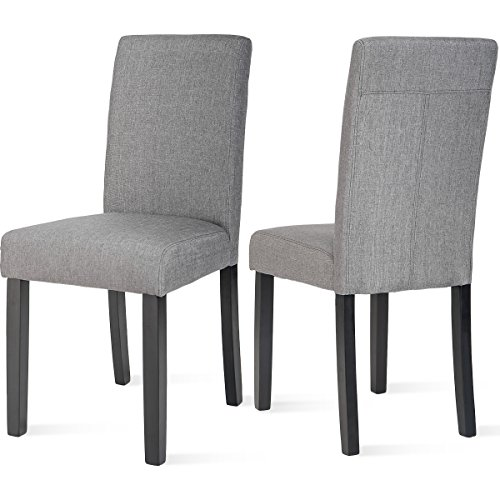 Harper&Bright Designs Fabric Dining Chairs Set of 2 Urban Style Padded Parson Chair with Sol ...