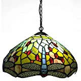 Carl Artbay CA-D2 Tiffany Chandelier, Dragonfly Stained Lamp Shade