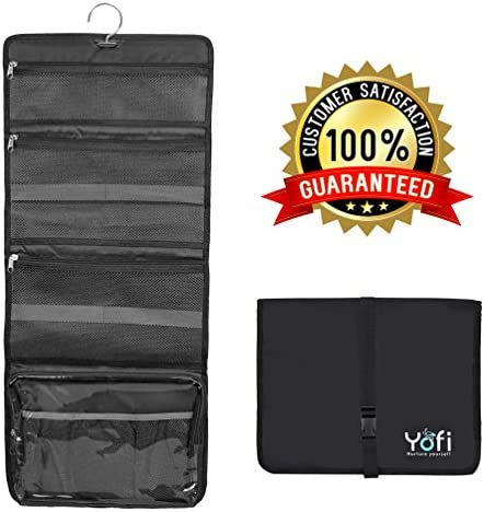 Yofi Nurture Yourself Multifaceted Hanging Toiletry Bag   Foldable Mesh Storage for Travel Accessories, Cosmetic Makeup Kit, Shower Essentials   29.5x12.5in (75x32cm) Waterproof Bathroom Organizer