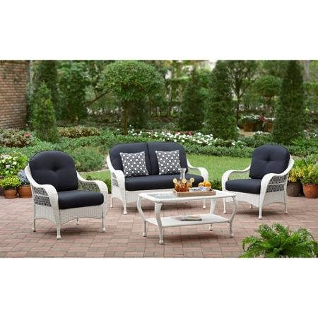 White All Weather Wicker 4 Piece Patio Conversation Set | Perfect Modern Cushioned Conversation Chairs and Loveseat with 2 Toss Pillows and a Glass Topped Coffee Table for Your Home Outdoors by the Grill, Firepit, Garden or Gazebo