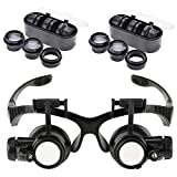 Double Eye Jewelry Watch Repair Magnifier Glasses Loupe with LED Light 10X 15X 20X 25X