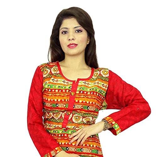 Diseñador indio de Bollywood mujeres del desgaste étnico Kurti algodón Rayón vestido superior de la túnica Rojo y verde