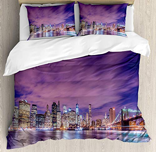 (USOPHIA Modern 4 Pieces Bed Sheets Set Full Size, New York City Skyline at Night with Skyscrapers Manhattan USA American Panorama Floral Duvet Cover Set, Violet Purple)