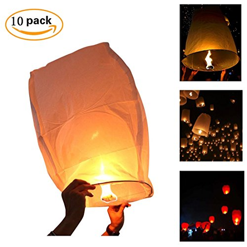 White Paper Lanterns,Bagvhandbagro 10Pcs Sky Wish Lanterns,Fully Assembled, 100% Biodegradable, New Designed Sky Lanterns For Birthdays, Ceremonies, Weddings And More (Rice Wedding)