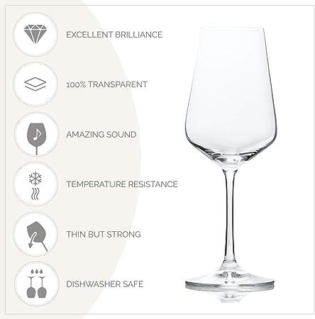 Bohemia Cristal Sandra - Copas de vino (6 unidades, en caja de regalo, capacidad de 350 ml, talla única)