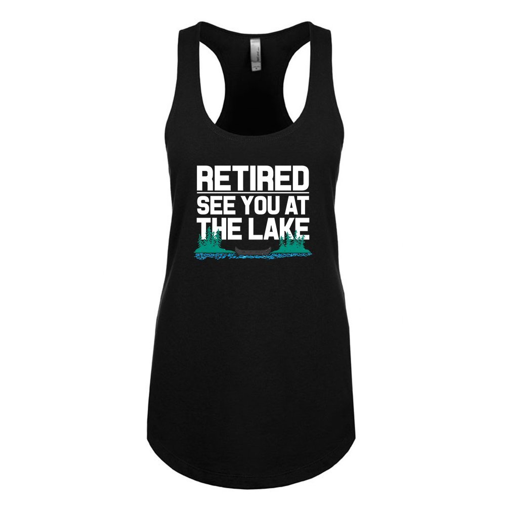 Mad Over Shirts Retired See You at The Lake Unisex Premium Racerback Tank top