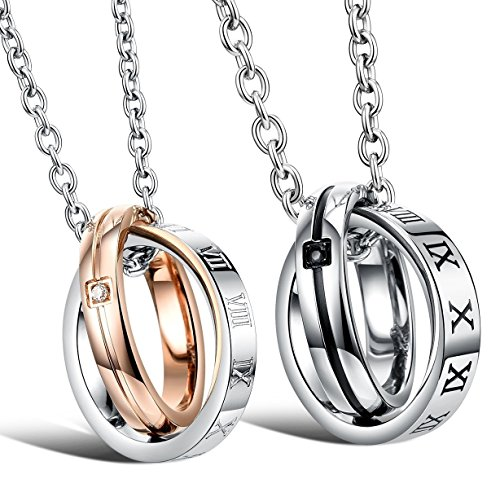 Amazing Titanium Stainless Steel Roman Numerals Couple Pendant Necklace Matching Set Valentine Element