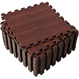 SUPERJARE 16 Tiles (16 tiles = 16 sq.ft) Eva Foam Interlocking Tiles Protective Flooring Mat with Borders Dark Wood Grain