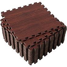Superjare 16 Tiles (16 tiles = 16 sq.ft) Eva Foam Interlocking Tiles Protective Flooring Mat with Borders - Dark Wood Grain/ Light Wood Grain