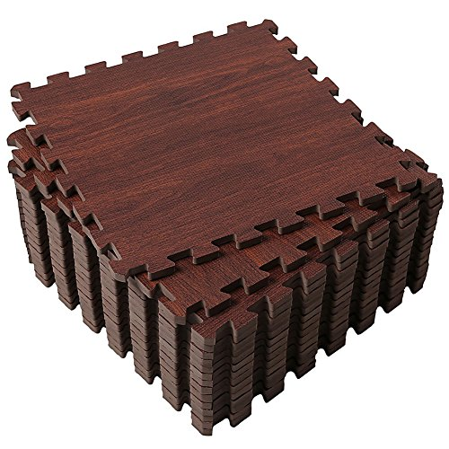 Soft Foam Floor Mat (Superjare 16 Tiles (16 tiles = 16 sq.ft) Eva Foam Interlocking Tiles Protective Flooring Mat with Borders Dark Wood Grain)