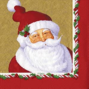 Entertaining with Caspari Luncheon Napkins, Mr. Claus, Gold, Pack of 20