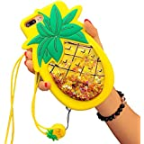 """CASESOPHY Glitter Pineapple with Strap Case for iPhone 7 Plus 7+ 8+ 8Plus 5.5"""" Screen 3D Soft Silicone Rubber Material Ultra Thick Protective Cute Bling High Fashion Gift for Kids Women Teens Girls"""