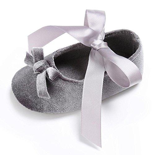 Hunpta Kinderbett Kleinkind Mädchen Schuhe Princess Flower Soft Prewalker weiche Sohle rutschfeste Schuhe Gray