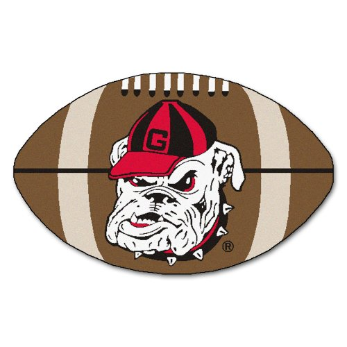 FANMATS NCAA University of Georgia Bulldogs Nylon Face Football Rug